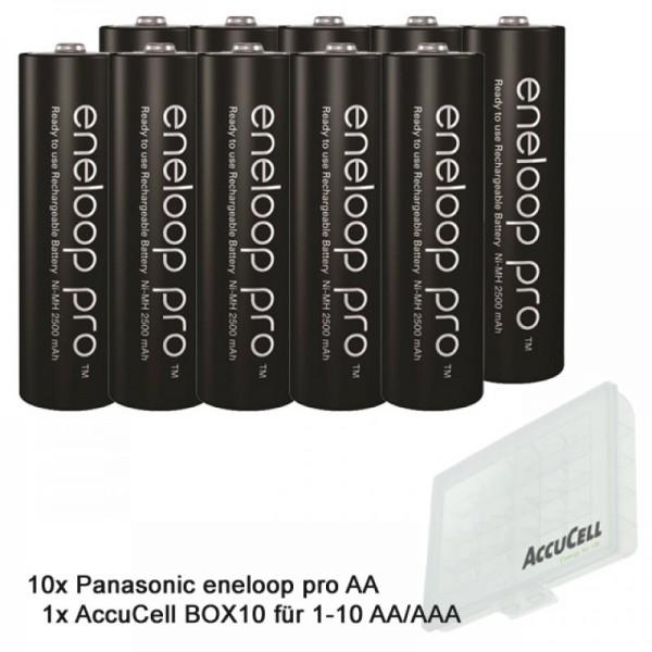 10 Panasonic eneloop Pro NiMH Akku, AA Mignon, 2500mAh mit extrastarker Leistung und AccuCell AccuSafe