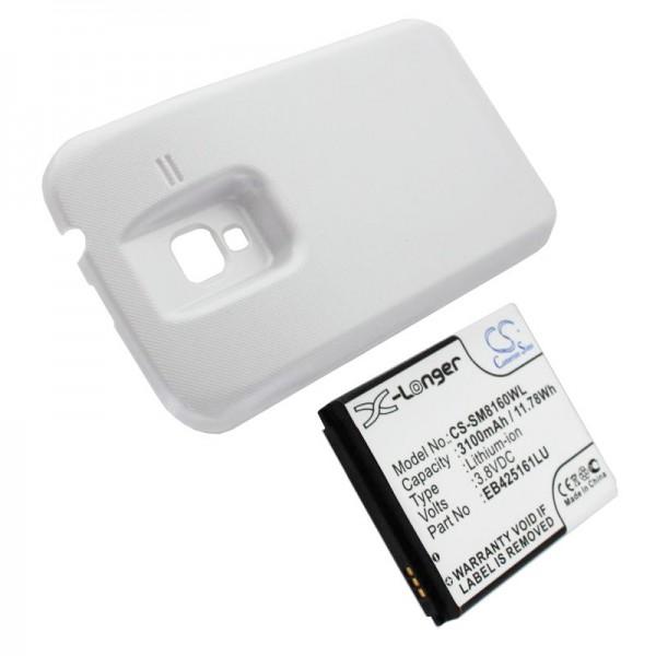 Akku passend für Samsung Galaxy Ace 2, Samsung GT-I8160, Samsung GT-I8160P 3100mAh mit weißem Deckel