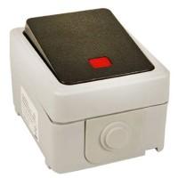 Wechselschalter mit Wippe und Kontrolllicht für Aufputzinstallation im trockenen Innenraumbereich geeignet