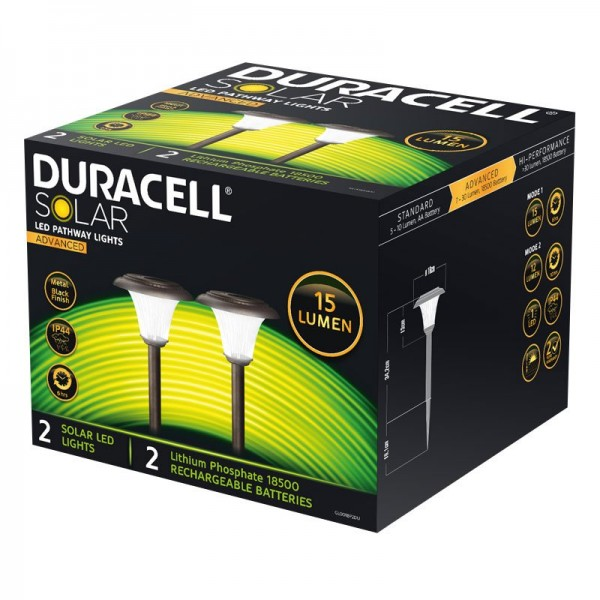 2er Set Duracell LED Solar Gartenlampe mit bis zu 15 Lumen, rostfreier Edelstahl, mit Lithium LiFePO4 Akku