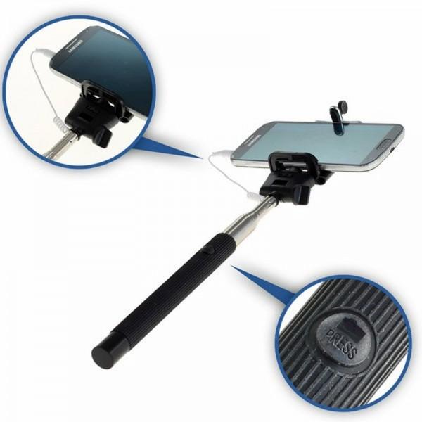 Selfie Maker mit Klemmhalter, Teleskop ausziehbar mit Auslösekopf für Smartphone und Action-Cam