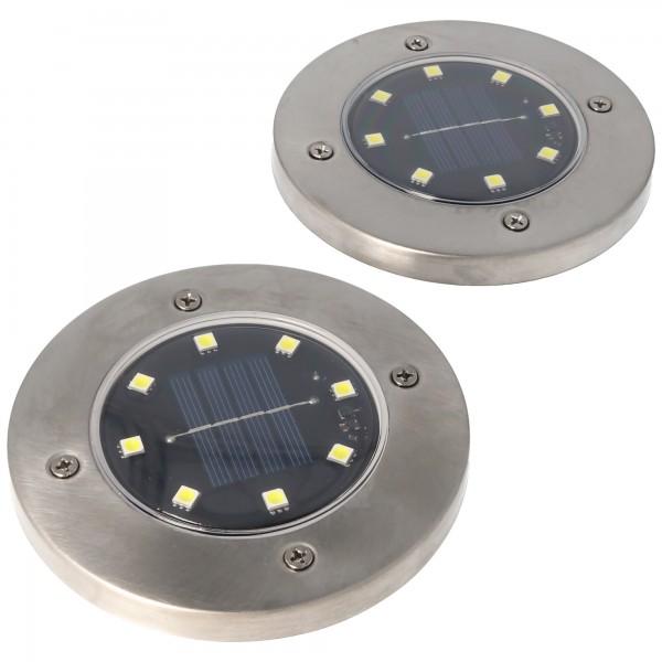 2er Set LED Solar Bodenstrahler, Edelstahl, wasserdicht IP44, inklusive NiMH AA 2,3V 400mAh Akku