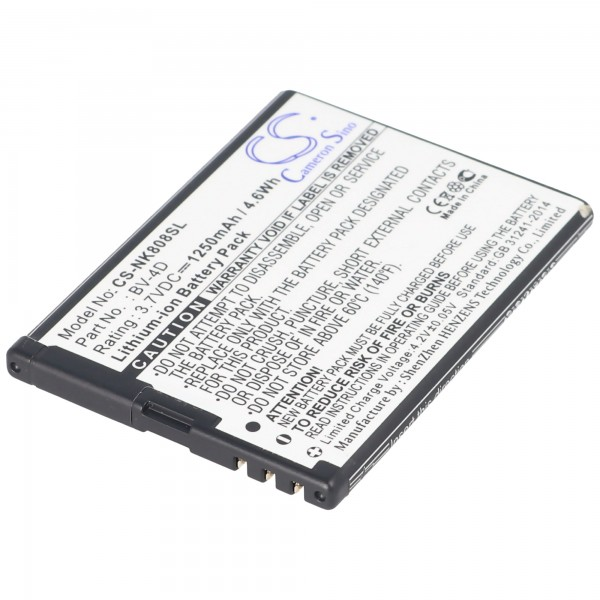 Akku passend für Nokia 808 PureView, N9, BV-4D