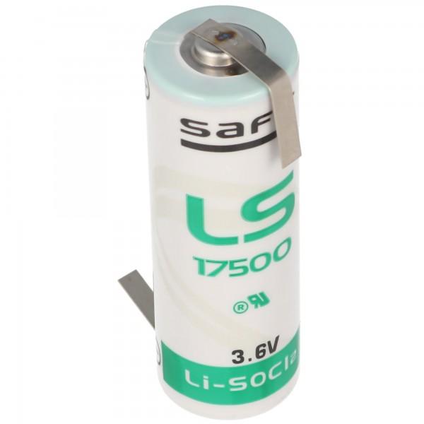 SAFT LS17500 Lithium Batterie , Size A, mit Lötfahne Z-Form