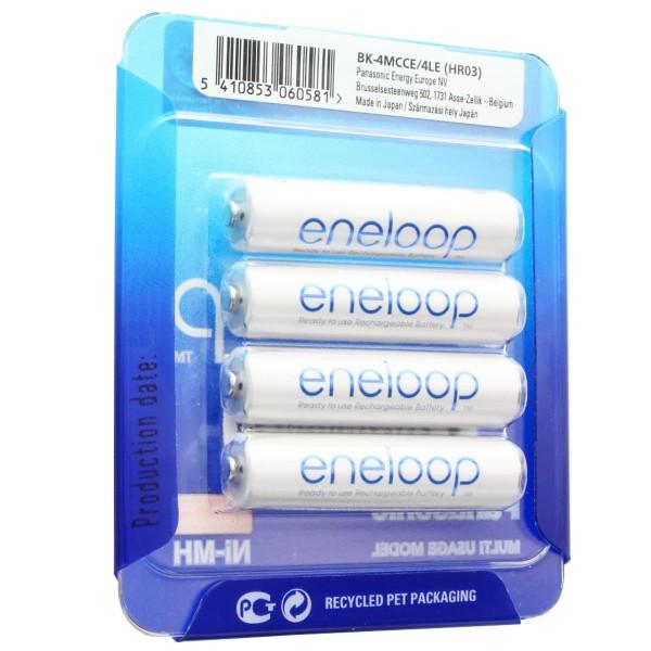 Panasonic eneloop Standard (ehem. Sanyo eneloop Standard) Akku AAA HR-4UTGA 800mAh 4er + AccuCell Box AAA