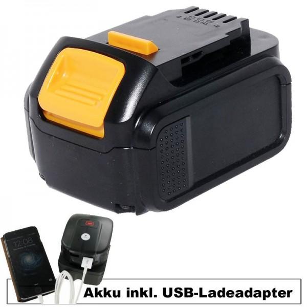 Akku und USB-Ladeadapter passend für Dewalt Akku DCB140, DCB141-XJ, DCB143-XJ, DCB145