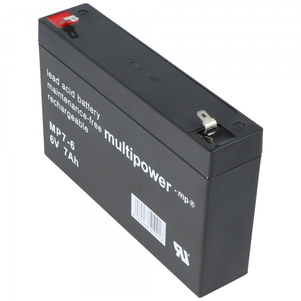 Multipower MP7-6 Blei Akku 6 Volt, 7000mAh mit Faston 4,8mm