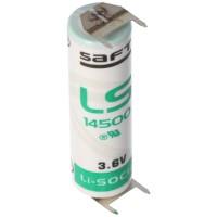 Saft LS14500 AA Lithium Batterie 3,6 Volt mit Printanschluss, LS14500 LiSOCI2 2600mAh 2er Print - / 2er Print +
