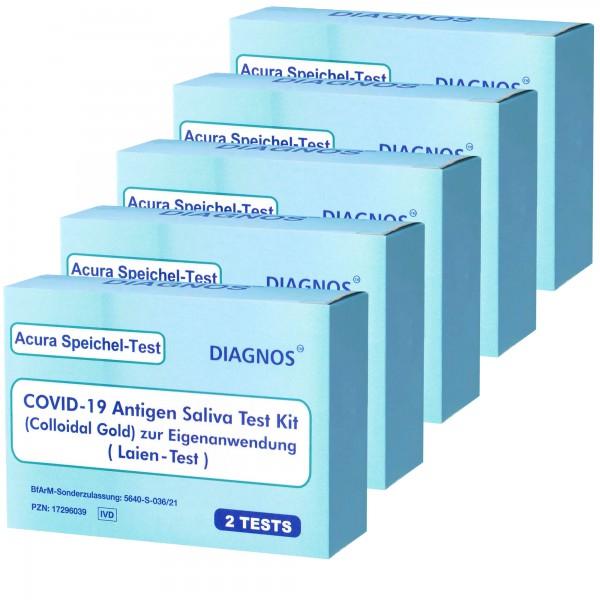 10 Acura Speichel-Test DIAGNOS COVID-19 Laientest (Spucktest) mit BfArM-Sonderzulassung, Coronavirus (SARS-Cov-2) Antigen Schnelltest, kein PCR