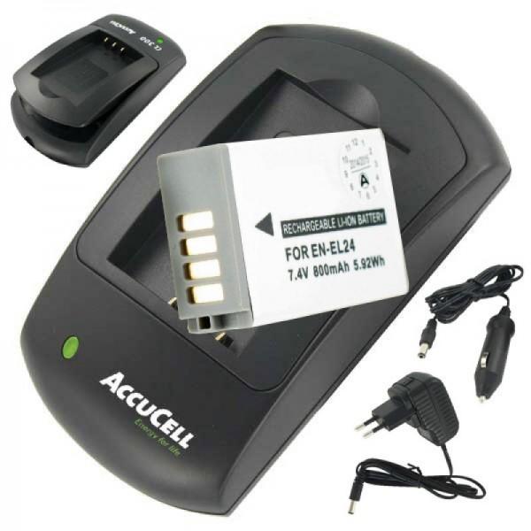 Akku und Ladegerät passend für EN-EL24 Akku für Nikon 1 J5 Sparpreis