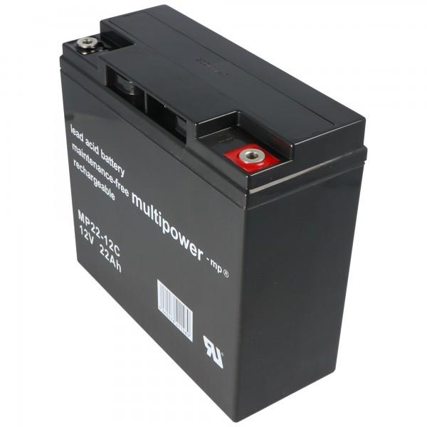 Multipower Blei-Akku MP22-12C (Nachfolger zu Yuasa YPC22-12 Blei Akku mit 12 Volt und 22Ah)