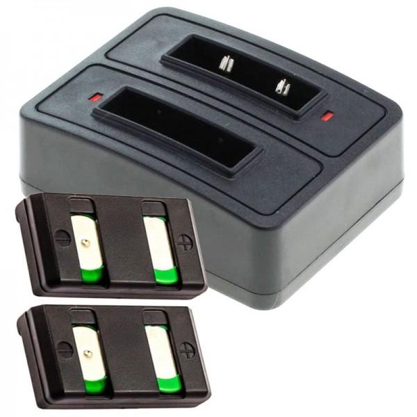 2x Akku und Schnell-Ladegerät 2fach passend für den Sennheiser BA90 Akku NiMh, NiCd