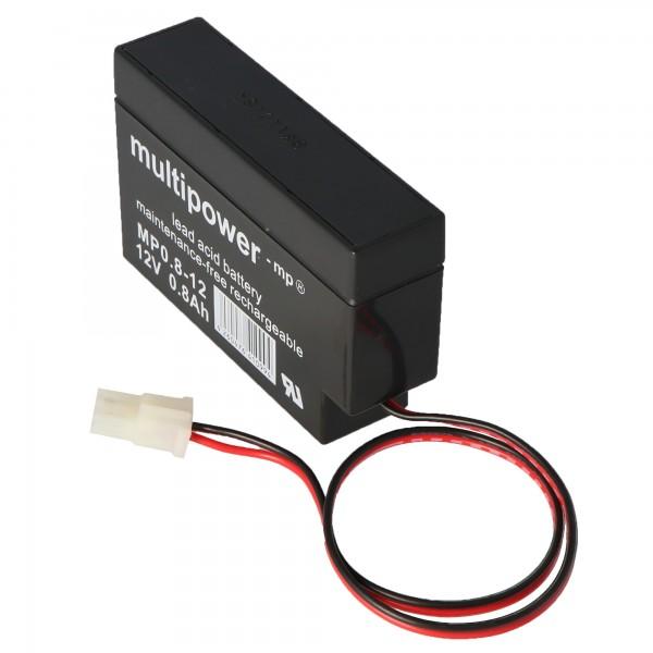 Fiamm FG20086 Blei Akku mit Kabel und AMP Stecker 800mAh, nicht mehr lieferbar, geliefert wird der MP0,8-12AMP