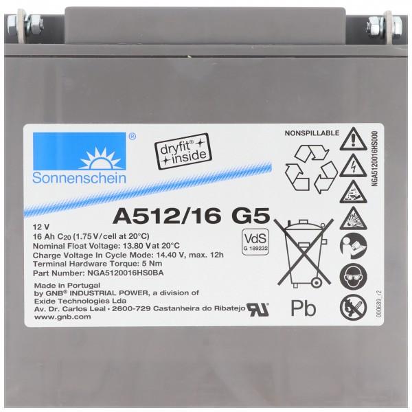 Sonnenschein Dryfit A512/16G5 Blei Akku, Anschluss M5, VDS G1892