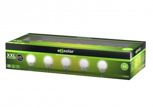 LED Solar Wegeleuchte Cracked Ball, Solar Gartenleuchte mit Farbwechsel-Funktion, inklusive 5x 1,2V AA Ni-MH Akku, 5er Set