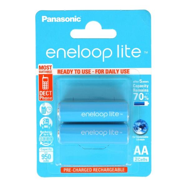 Panasonic eneloop Lite Mignon AA LR06 Akku BK-3LCCE NiMH 1,2 Volt 1000mAh im 2er Blister
