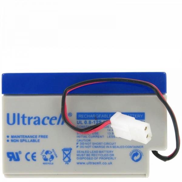 UL0.8-12 Ultracell Blei Akku 12 Volt 0,8Ah mit Kabel und AMP-Stecker (bitte unbedingt Stecker mit Ihrem vergleichen)