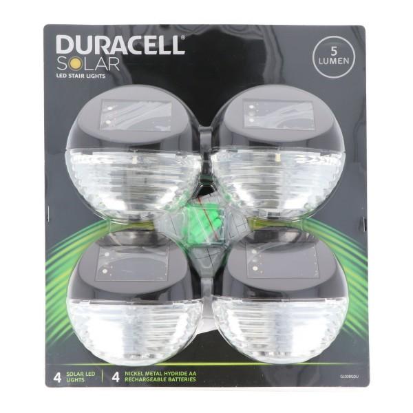 Duracell Solar LED Treppenlicht GLl038GDU als LED Treppen Licht, Set bestehend aus 4 Stück inklusive austauschbaren Akkus, metallic bronze
