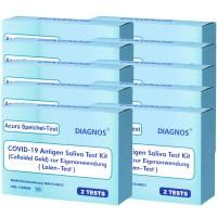 20 Acura Speichel-Test DIAGNOS COVID-19 Laientest (Spucktest) mit BfArM-Sonderzulassung, Coronavirus (SARS-Cov-2) Antigen Schnelltest, kein PCR
