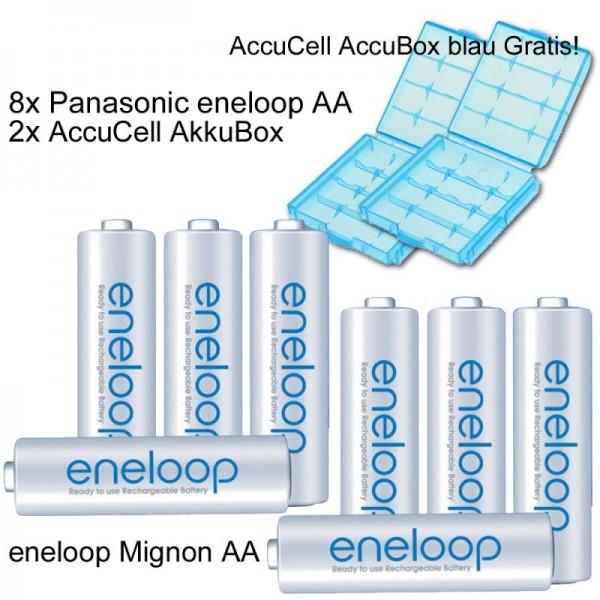 8er Pack Panasonic eneloop Standard Akkus Mignon AA Akku Batterien mit blauer Akkubox